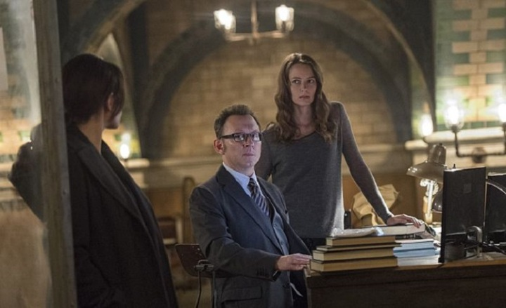 """The Cold War"" -- Samaritan shows its power by erasing crime from the city for a day in an attempt to force The Machine out of hiding, on PERSON OF INTEREST, Tuesday, Dec. 16 (10:01-11:00 PM, ET/PT) on the CBS Television Network. Pictured left to right: Sarah Shahi, Michael Emerson and Amy Acker Photo: John Paul Filo/CBS  ©2014 CBS Broadcasting Inc. All Rights Reserved."